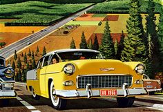 Plan59 :: Classic Car Art :: Vintage Ads :: 1955 Chevrolet | Bruce Bomberger
