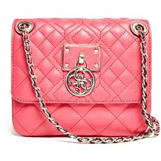 GUESS Aliza Convertible Cross-Body ($108) ❤ liked on Polyvore featuring bags, handbags, shoulder bags, flamingo, quilted handbags, guess purses, quilted chain strap shoulder bag, red shoulder bag and red purse