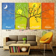 Modern Wall Art Home Decoration Printed Oil Painting Pictures No Frame 4 Panel Happy Tree in Four Season Large Living Room Decor-in Painting & Calligraphy from Home & Garden on Aliexpress.com | Alibaba Group