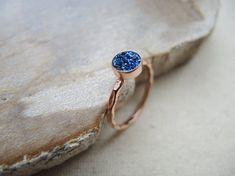 SALE Druzy Ring Chalcedony Druzy Titanium by GemJewelrybyHWestNY