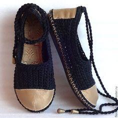 Обувь ручной работы. Ярмарка Мастеров - ручная работа. Купить Балетки вязаные Интуи, черные, р. 38, хлопок. Handmade.