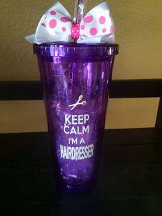 Customized Keep Calm I'm a Hairdresser, 20 ounce Acrylic cup with screw on lid