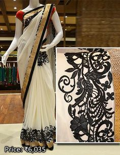 The pure georgette embroidery saree is perfect for an evening.