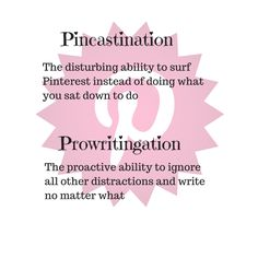 Pincastination || Prowritingation || Procastination || Butt In Chair and get Writing || A Writer's Life