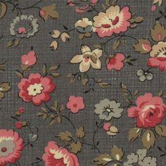 "Precut ""Almost One Yard"" - Tela Estampada - Floral - Granate/Cerceta"