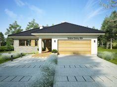 DOM.PL™ - Projekt domu FA OCEANIA CE - DOM GC6-28 - gotowy koszt budowy Bungalow House Design, Cosy, House Plans, Garage Doors, 1, Floor Plans, Construction, Exterior, Outdoor Decor