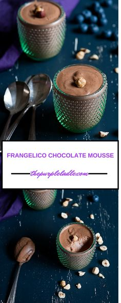 Rich and indulgent - frangelico chocolate mousse served with roasted hazelnuts and blueberries