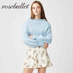 rosebullet秋冬百搭温暖兔毛宽松一字领泡泡袖套头针织毛衣短款女-tmall.com天猫