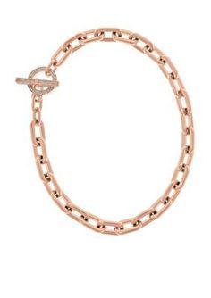 Michael Kors  Rose Gold-Tone Pave Crystal Embellished Link Toggle Neck