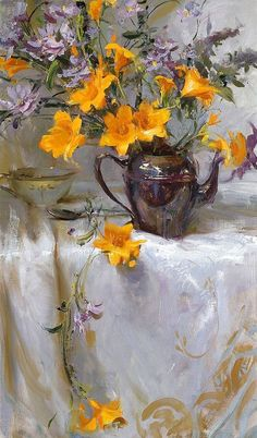 ❀ Blooming Brushwork ❀ - garden and still life flower paintings - The Art of Daniel F. Still Life Flowers, Flower Of Life, Flower Art, Painting Still Life, Still Life Art, Art Floral, American Academy Of Art, Posters Vintage, Wow Art