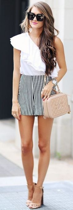 White One Shoulder Ruffle Top + Striped Shorts                                                                             Source