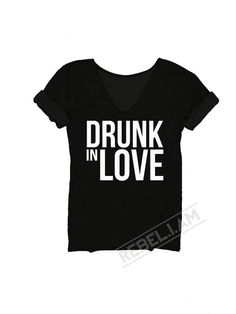 DRUNK IN LOVE Longer tee with v neck and sleeve tabs unique by REBELIAM