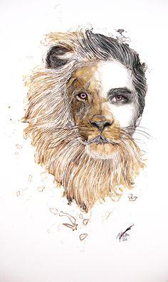 half #man, half #lion Lion Drawing, Human Drawing, Human Art, Animal Drawings, Art Drawings, Metamorphosis Art, Human Painting, Art Visage, Gcse Art Sketchbook