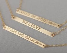 Engravable Gold Bar Necklace Engraved Bar Necklace by CustomBrites