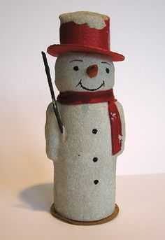 Vintage German Snowman Candy Container, the  bottom opens to hold Christmas Candy, c.1930's. Made of cardboard and mica.