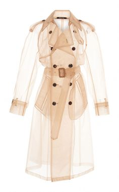 This **Maison Margiela** Light Crinoline Trench Coat features a sheer, classic trench silhouette with long sleeves. Beige Trenchcoat, Beige Coat, Cl Fashion, Womens Fashion, Fashion Design, Fashion Trends, Lolita Fashion, Fashion Boots, Fashion Dresses