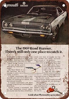 1969 Plymouth Road Runner Vintage Look Reproduction Metal Sign *** This is an Amazon Affiliate link. Check out the image by visiting the link.