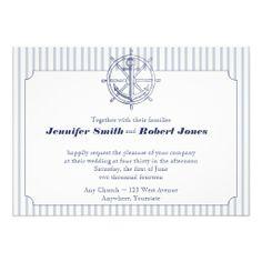 Nautical Anchor on Grey Stripe Wedding Invitation