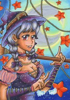 """A4 Poster """"Little Witch"""" von Angelia Arts  auf DaWanda.com"""