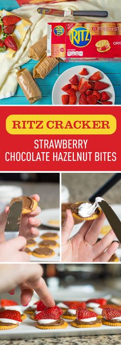 What could be sweeter than sharing these Strawberry Chocolate Hazelnut Bites with the whole family? RITZ Crackers, chocolate hazelnut spread, marshmallow creme, and fresh fruit all come together to make a fun and easy treat idea that's perfect for occasions big and small. Try out this snackable recipe by picking up all the ingredients you'll need at Kroger. Diy Snacks, Party Snacks, Healthy Snacks, Marshmallow Creme, Mini Desserts, Just Desserts, Dessert Recipes, Dessert Bars, Chocolate Strawberries