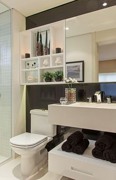 Dozens of ideas to help you decorate a small bathroom and bring style to the most important room in the house. Find organizational tips, artwork, and more. Bad Inspiration, Bathroom Inspiration, Bathroom Layout, Small Bathroom, Bathroom Wall, Bathroom Ideas, Comfort Room, Interior Decorating, Interior Design