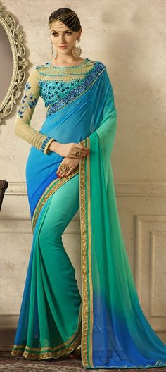 Buy online turquoise and sea green colored fabulous party wear saree at lowest price. This fabulous party wear saree is prettified with attractive patterns of embroidered and patch border. Indian Designer Sarees, Indian Sarees Online, Designer Sarees Online, Lehenga Online, Designer Sarees Collection, Saree Collection, Chiffon Saree, Silk Sarees, Silk Chiffon