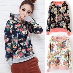Tween Round Hem Sweatshirt in Navy Floral Size 10/12-14/16 ...