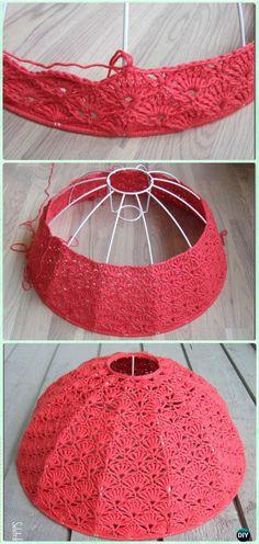 Crochet Fan Stitch Lampshade Free Pattern – Crochet Lamp Shade Free Patterns See other ideas and pictures from the category menu…. Faneks healthy and active life ideas Lampe Crochet, Crochet Lampshade, Crochet Diy, Crochet Gratis, Crochet Home Decor, Crochet Pillow, Crochet Hooks, Knitting Patterns, Crochet Patterns