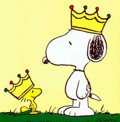 Snoopy and Woodstock Wearing Crowns