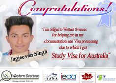 Jagjeevan made it to success and finally, got Study Visa for Australia. Western Overseas helped him in documentation and visa processing to make his way easy.