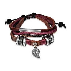 Bling Jewelry Zen Garden Bracelet ($13) ❤ liked on Polyvore featuring jewelry, bracelets, brown, wrap-bracelets, charm bangles, brown jewelry, leather bangles, leaf jewelry and leaf bangle