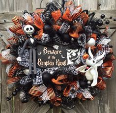 Halloween Wreath, Halloween Mesh Wreath, Nightmare Before Christmas Wreath, Jack Skellington Wreath, Beware of the Pumpkin King on Etsy, $134.00