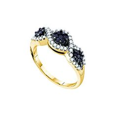 1.09 Cttw Natural White and Color Enhanced Blue Diamond Gold Plated Sterling Silver Wave Ring