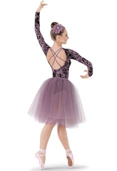 gorgeous long tutu pointe ballet costume leotard dress open back straps in lavender with black lace detail