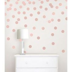 Rose Gold Confetti Dot Decals - Wallpops - So cute and elegant looking! Easily application and removable! Home decorating Room decor - room decor Ideas - decoration Ideas - rental home decorating - Home Improvement Wall Stickers Polka Dots, Polka Dot Walls, Girls Wall Stickers, Round Stickers, Bedroom Wall Stickers, Polka Dot Room, Nursery Wall Decals, Rose Gold Rooms, Blush And Gold Bedroom