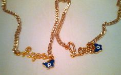 Gold chain necklace / logo made to order / by KaterinakiJewelry Evil Eye Charm, Gold Chains, My Etsy Shop, Buy And Sell, Logo, Check, Handmade, Stuff To Buy, Jewelry