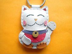 So cute! Makiyo the Maneki Neko leather keychain  White  by leatherprince, $21.90