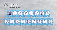 Your place to buy and sell all things handmade Frozen Birthday Banner, Happy Birthday Banner Printable, Printable Banner, Happy Birthday Banners, Party Printables, Toy Story Cake Toppers, Toy Story Cakes, 1st Birthdays, 2nd Birthday Parties