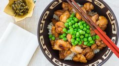 Prepare this teriyaki chicken bowl recipe made with mirin and sake. Get the Japanese recipe at PBS Food.