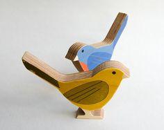 Moderne bois oiseau jaune Yellow Warbler par StudioLiscious