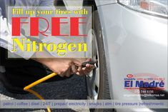Top up your tyres with our free Nitrogen (available for tyres on the forecourt) pressure is Better the lifespan of tyres fuel consumption Contact us for any inquires on 013 744 1156 Prepaid Electricity, Road Trip Snacks, Filling Station, Gas Pumps, Gas Station, My Coffee, Diesel, Instagram Posts, Garage