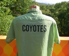 vintage 50s 60s hilton bowling shirt DON COYOTES green polo golf collar Medium Large 16