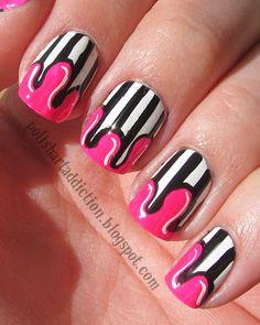 Polish Art Addiction. Paint drips on stripes!