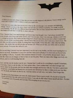 Amazing letter to a child diagnosed with Type 1 Diabetes from Batman (comic book writer Devin Grayson). Bring some tissues.