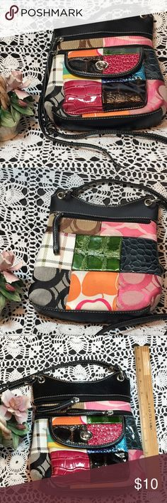 """Custom Made cross body purse Black leather with patchwork """"Coach"""" fabric and faux reptile skin. Multiple pockets outside. Purchased from a leather workshop in Key West, FL. Dimensions: height 9"""", length 8"""", width 2"""". Inventory Reference: PR-005 Custom made Bags Crossbody Bags"""