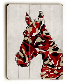 Another great find on #zulily! Red Camouflage Horse Wood Wall Art #zulilyfinds