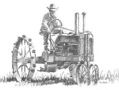 Tractor Pencil Sketch by Terry Redlin