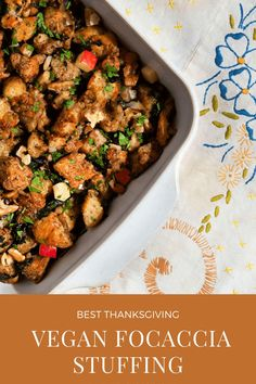 This Focaccia Vegan Stuffing is made with delicious focaccia bread, fennel, apple, spinach, and walnuts. Substitute gluten-free bread for even more options! Vegan Stuffing, Stuffing Recipes, Turkey Recipes, Delicious Vegan Recipes, Vegetarian Recipes, Healthy Recipes, Sweets Recipes, Everyday Dishes, Everyday Food