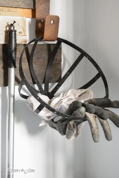 glove and rag holder basket / 8 - Celebrating the curbside workshop rack / are you celebrating small successes along the way? via FunkyJunkInteriors.net