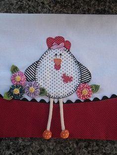 Pano de prato patchcolagem galinha :)